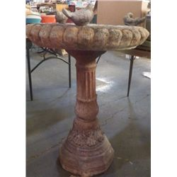 "Cement Bird Bath Yard Art 27"" WIDE X 36"" Tall very heavy this is made of cement"