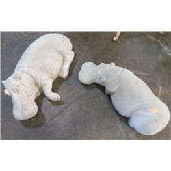 "2-  Cement Hippo's Large one is 20"" x 11"" approx Smaller one is 20"" x 8"