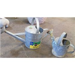 "2 Garden Watering Cans Large 20"" x 14"" small 14"" x 10"""