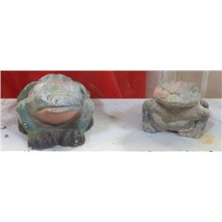 "2 - Yard Art Ceramic Frogs larger one is 10""x6"" smaller one 9""x5""approx."