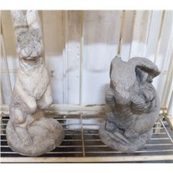 "2 Yard Art Cement Rabbits for Yard large one is 9""x16"" has crack on bottom and smaller is 8""x12"""
