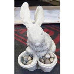"Yard Art Cement Rabbit With 2 Baskets of Rocks 12""x13""approx."