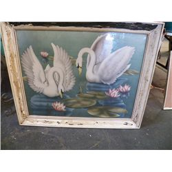 "Large Double Swan Picture  approx. 32"" x 26"""