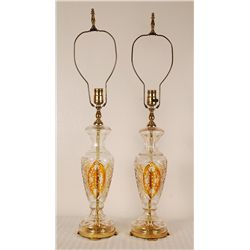 Pair of Vintage Cut Crystal Glass Lamps