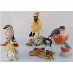 Collection of 6 Porcelain Birds