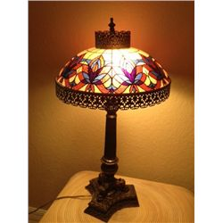 Mosaic Glass and Brass Lamp
