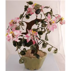 Hand Painted Jade Tree with Flowers