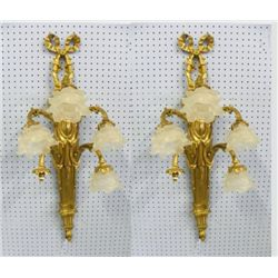 Pair gilt 5 light wall sconces with shades