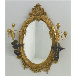 19th c. heavily carved mirror