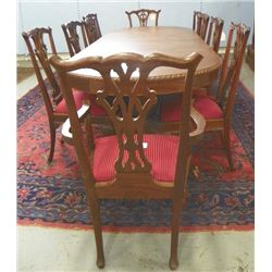 Dining room table & 10 Chippendale style chairs