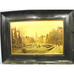 Painting on porcelain plaque signed C. Fels