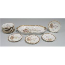 "Limoges ice cream set with ""Courting Scene"""