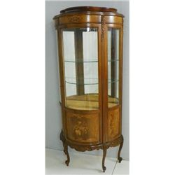 French inlaid curved glass curio ca. 1930's