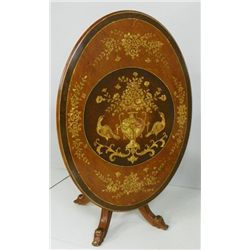 "Oval ""Floral"" inlaid Italian tilt top table"