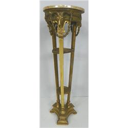 Figural marble top pedestal with Rams heads