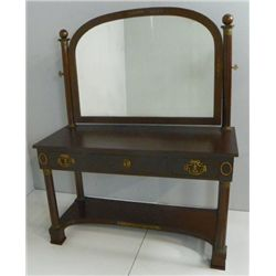 Empire style bronze mounted vanity with mirror