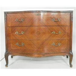 French marble top serpentine inlaid commode