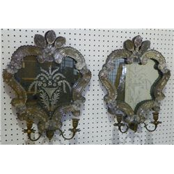 Pair Venetian etched mirrored 2 armed sconces