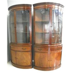 Pair Fancher beveled glass corner cabinets
