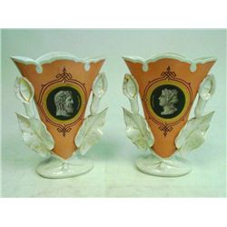 Pair Old Paris porcelain portrait vases