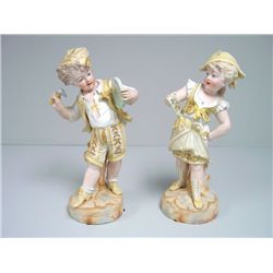 "Pair bisque figures of ""Boy & Girl"" ca. 19th c."