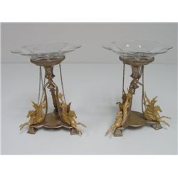 Pair 19th c. bronze compotes