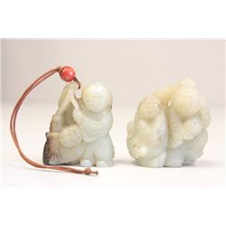 Set of 2 Chinese carved jade figures