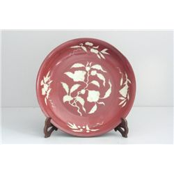 Rare large red glazed charger plate