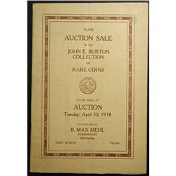 Auction Catalogue from B. Max Mehl 1918, John E. Burton Collection of Rare Coins.