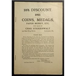 Fix Price Catalogue from Chas. Steigerwalt 1911, Coins, Medals, Paper Money etc. USA and ancient.