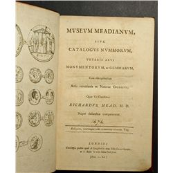 Auction Catalogue from Dr Mead 1755, hard cover book written in old english with result of sale in m