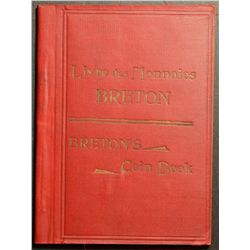Breton's Coin Book, small red cover book with picture of coins and tokens along with his numbers, wa