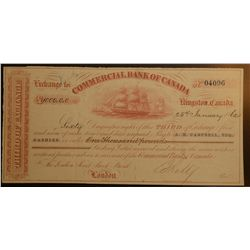 1862, Third of exchange from the Commercial Bank of Canada numbered 04096 for one thousand pounds (1