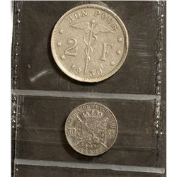 Belgium; 50 Centimes 1886 VF-30 and 2 Francs 1930 VF-20. Lot of 2 coins.