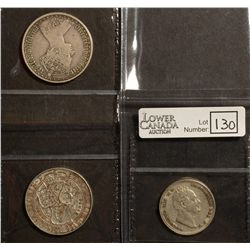 Great Britain; 1 Shilling 1834 VF-20, 1 Florin 1873 F-12 and 1899 VF-30. Lot of 3 coins.