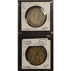 Great Britain 1/2 Crown 1907 VF-20 & 1908 F-12. Lot of 2 coins.