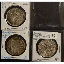 Great Britain 1/2 Crown 1915 EF-40, 1918 F-12 & 1938 EF-40. Lot of 3 coins