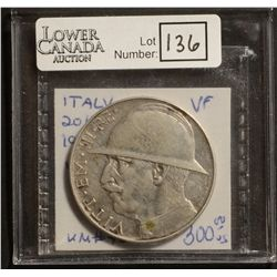 Italy 20 Lire 1928R VF-20 Lightly Cleaned.