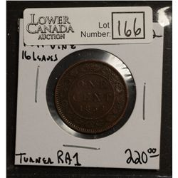 Cent 1858, F-12; Full Vines, 16 Leave stems. Scarce, Turner RA1.