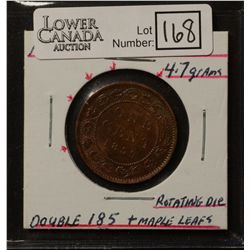 Cent 1859, Narrow 9, Repunched 85, Die Clash on Reverse, Rotated Die, EF-40.
