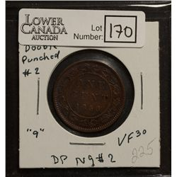 Canada 1 Cent 1859 VF-20, Narrow 9, Repunched 9, GR-16a, Medal Alignment.