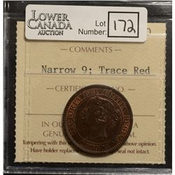 Cent 1859, ICCS MS-60; Narrow 9, Trace Red.