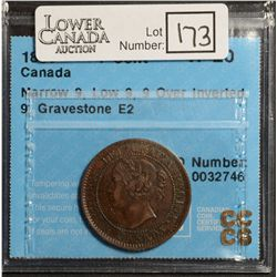 Cent 1859, CCCS VF-20; Narrow 9, Low 9, 9 Over Inverted 9, Gravestone E2. Very hard to find in any c