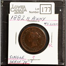 Cent 1882H, Single Serif N in CANADA  and REGINA, F-15 Obverse 1.