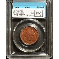Cent 1894, CCCS MS-63; Red & Brown, Thick 4, GR-222 in hard casing.