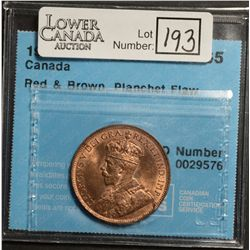 Cent 1919, CCCS MS-65; Red & Brown, Planchet Flaw.