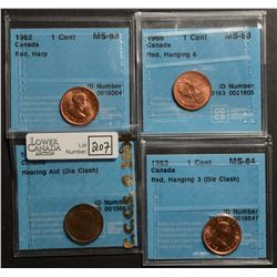 Cent 1952, CCCS AU-50; Hearing Aid, Cent 1962, CCCS MS-63; Red, Harp, Cent 1963, CCCS MS-64; Red, Ha