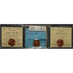 Cent 1961, CCCS MS-64; Red, Heavy Cameo, Cent 1978, ICCS MS-65; Red Double 8 & Cent 1979, ICCS MS-64