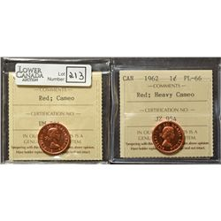 Cent 1962, ICCS PL-66 Red, Cameo  & Cent 1962, ICCS MS-66; Red, Heavy Cameo. Lot of 2 coins