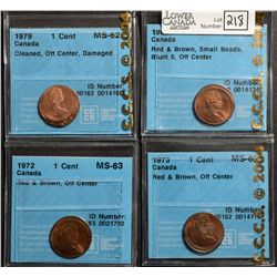 Cent 1965, CCCS MS-62; Red & Brown, SB B5, Off Centre, Cent 1972, CCCS MS-63; Red & Brown, Off Centr